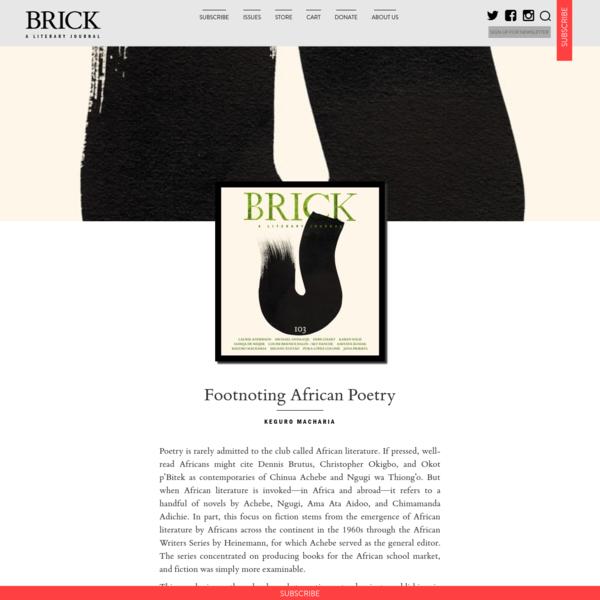Footnoting African Poetry | Brick