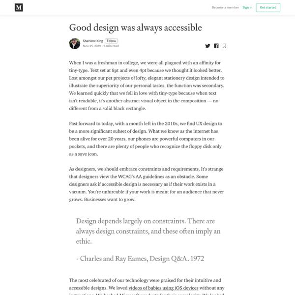 Good design was always accessible