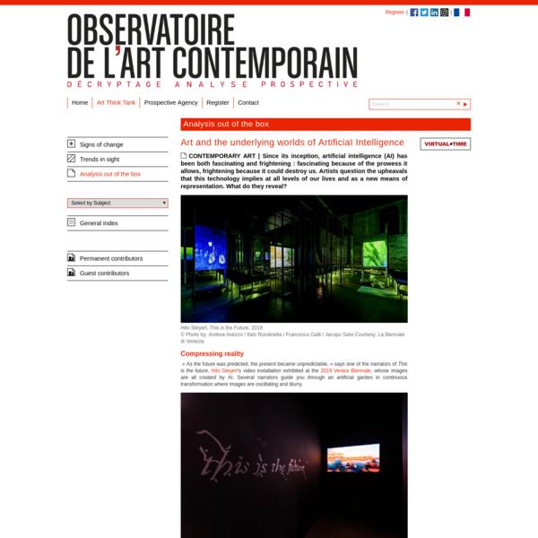 Art and the underlying worlds of ArtificiaI Intelligence   Observatoire de l'art contemporain