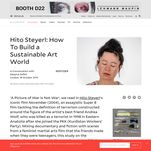 Hito Steyerl: How To Build a Sustainable Art World | Ocula