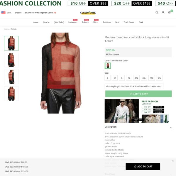 Modern round neck colorblock long sleeve slim-fit T-shirt
