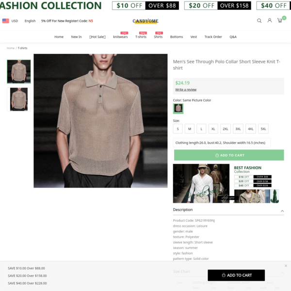 Men's See Through Polo Collar Short Sleeve Knit T-shirt