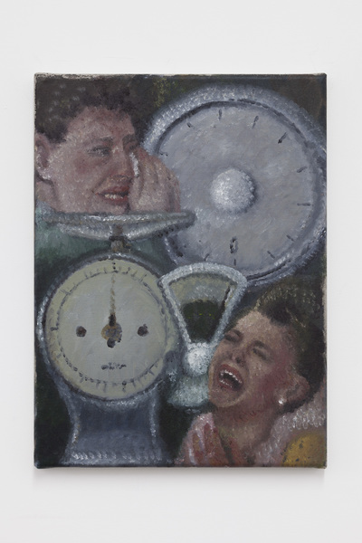 Women crying with weighing scales, 2019
