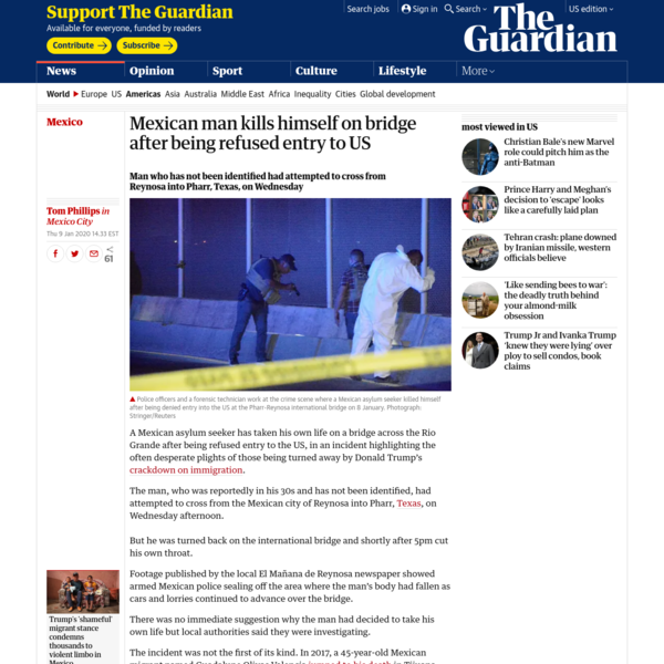 Mexican man kills himself on bridge after being refused entry to US
