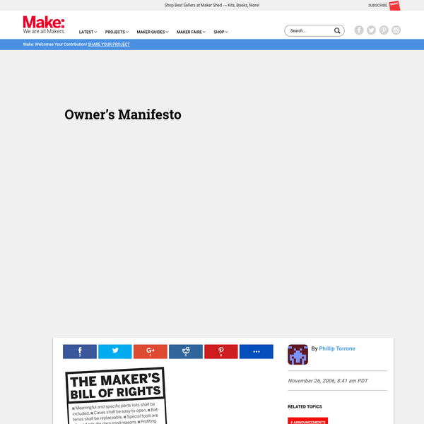 Owner's Manifesto | Make: DIY Projects and Ideas for Makers