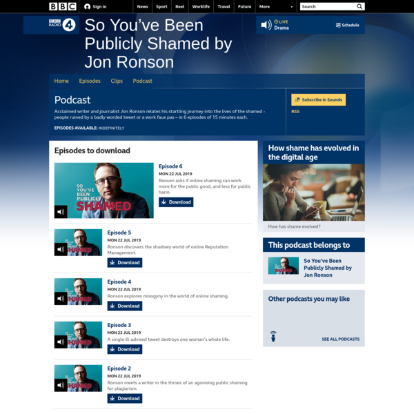 BBC Radio 4 - So You've Been Publicly Shamed by Jon Ronson - Downloads