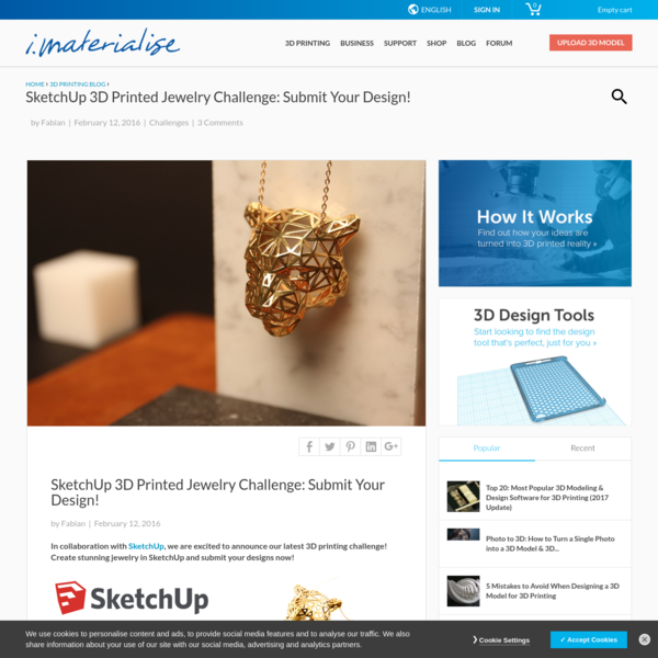 SketchUp 3D Printed Jewelry Challenge | 3D Printing Blog | i.materialise