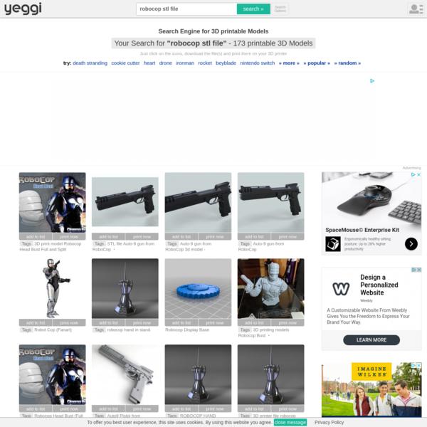 """robocop stl file"" 3D Models to Print - yeggi"