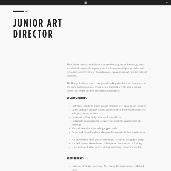 Junior Art Director - Careers - Code and Theory