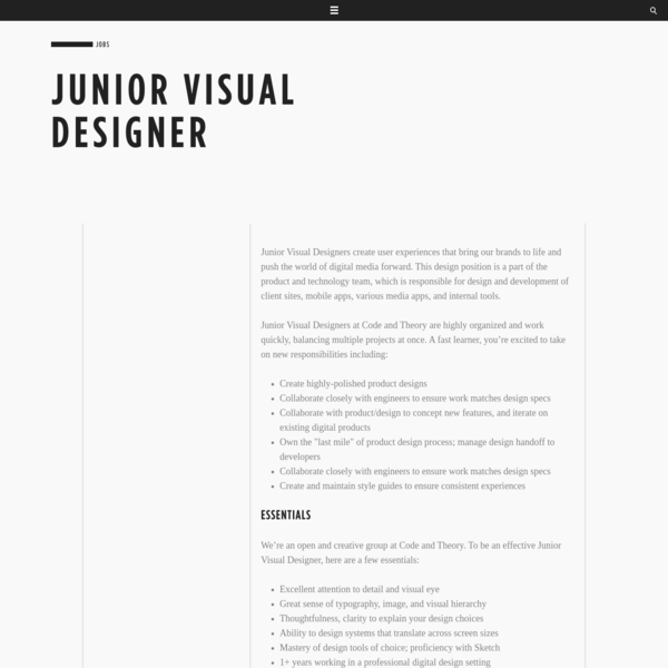 Junior Visual Designer - Careers - Code and Theory