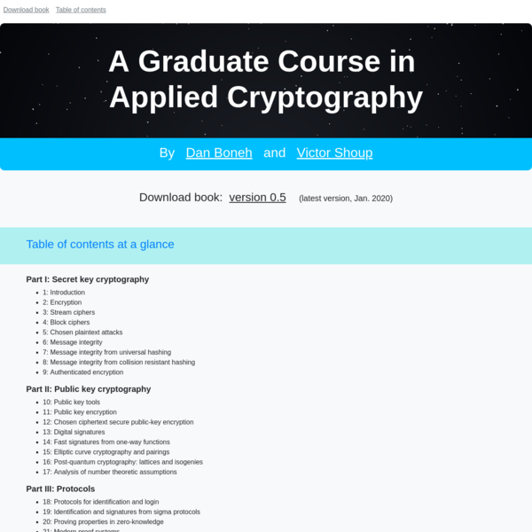 A Graduate Course in Applied Cryptography