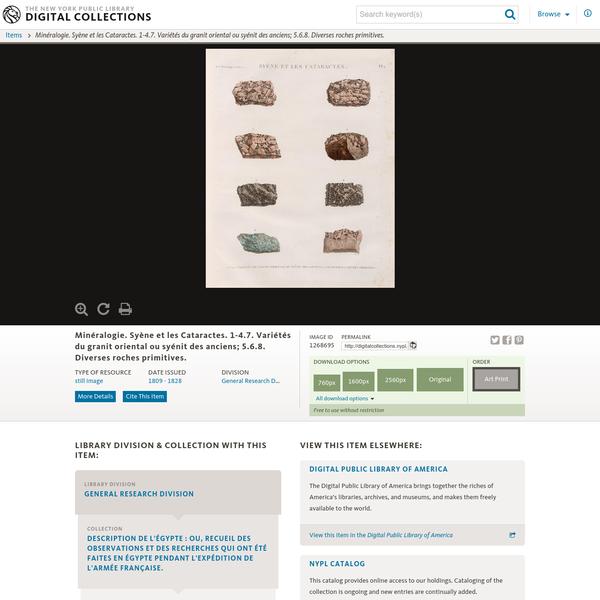 Minéralogie. Syène et les Cataractes. 1-4.7. Variétés du granit oriental ou syénit des anciens; 5.6.8. Diverses roches primitives.