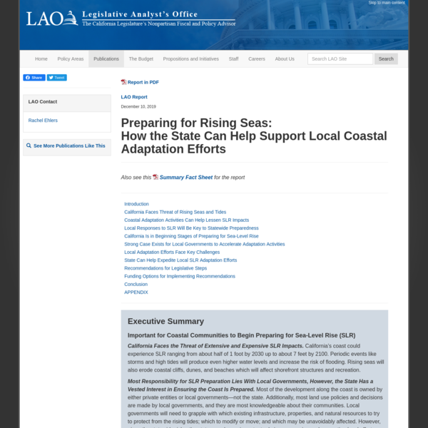 Preparing for Rising Seas: How the State Can Help Support Local Coastal Adaptation Efforts