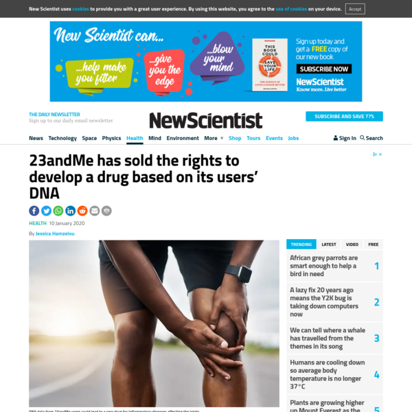 23andMe has sold the rights to develop a drug based on its users' DNA   New Scientist