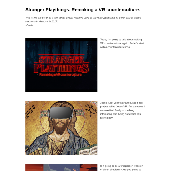 Stranger Playthings: Remaking a VR counterculture
