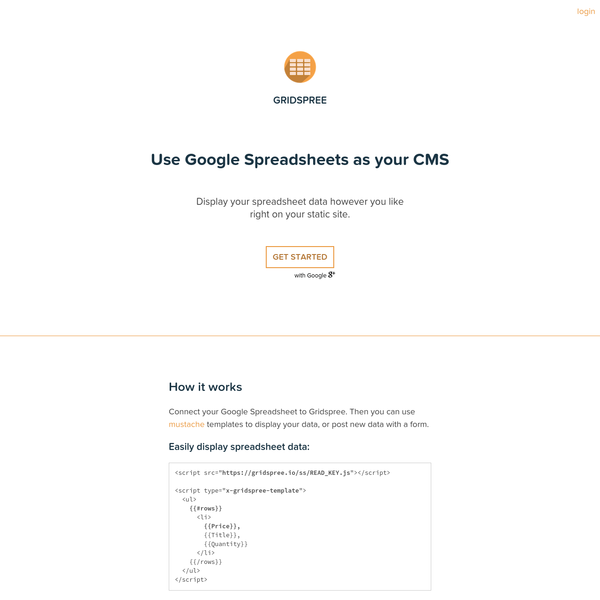 Use Google Spreadsheets as your CMS | Gridspree