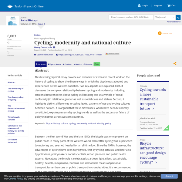 Cycling, modernity and national culture
