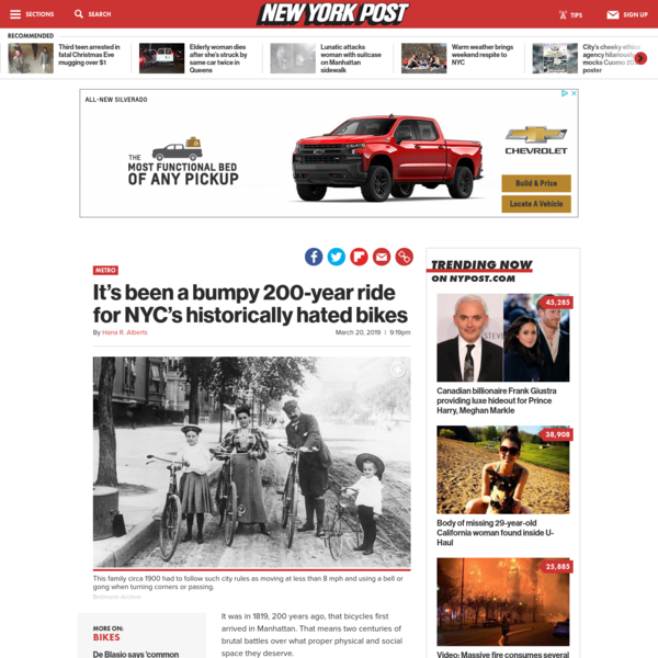 It's been a bumpy 200-year ride for NYC's historically hated bikes