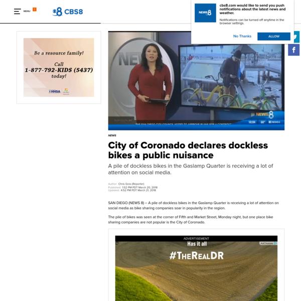 City of Coronado declares dockless bikes a public nuisance