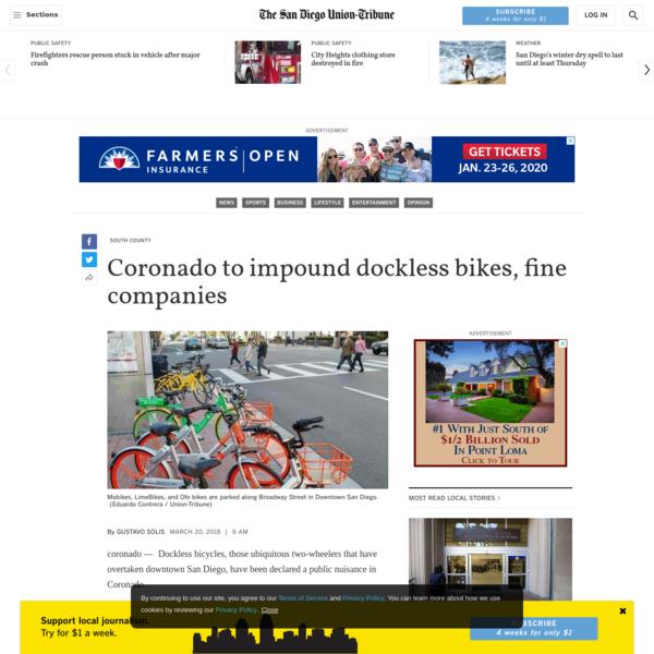 Coronado to impound dockless bikes, fine companies