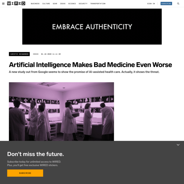 Artificial Intelligence Makes Bad Medicine Even Worse