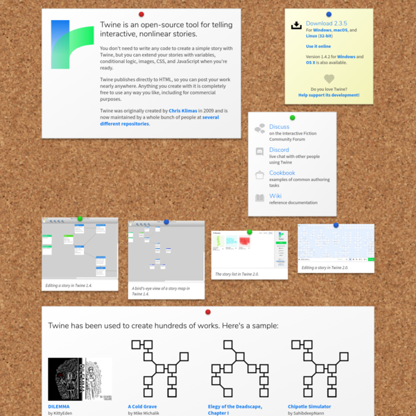 Twine / An open-source tool for telling interactive, nonlinear stories