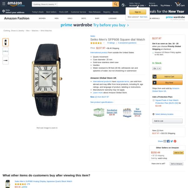 Amazon.com: Seiko Men's SFP608 Square dial Watch: Seiko: Watches