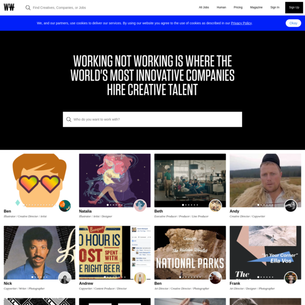 Connecting companies with the universe's most creative creatives - Working Not Working