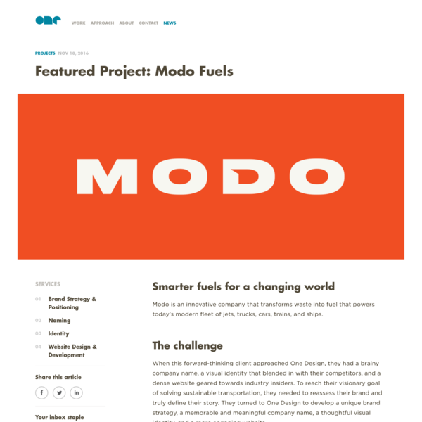 Featured Project: Modo Fuels - One Design Company