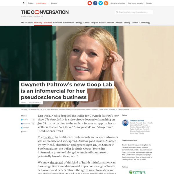 Gwyneth Paltrow's new Goop Lab is an infomercial for her pseudoscience business
