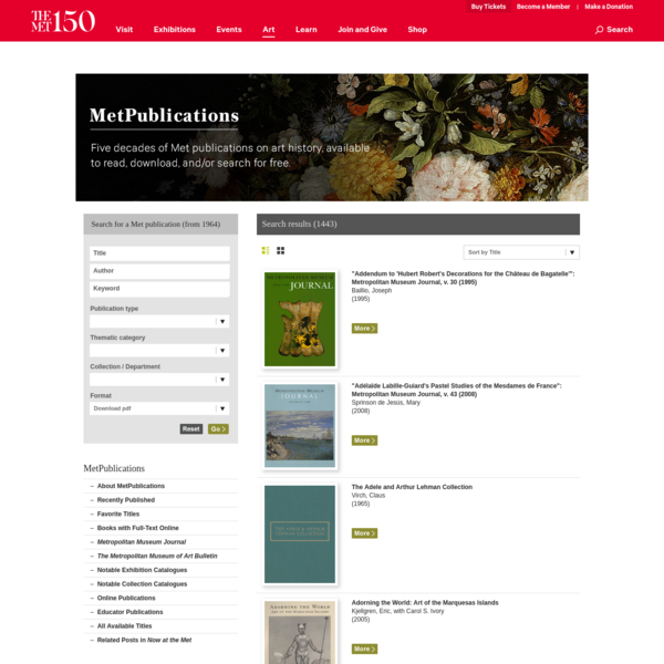 Search publication results   MetPublications   The Metropolitan Museum of Art