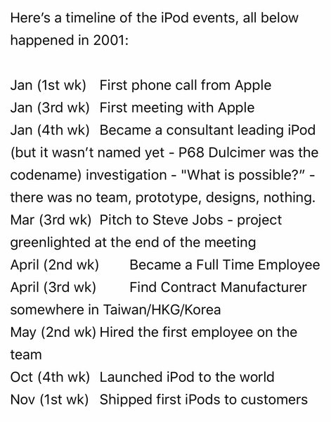 Timeline of iPod development and production, Tony Fadell