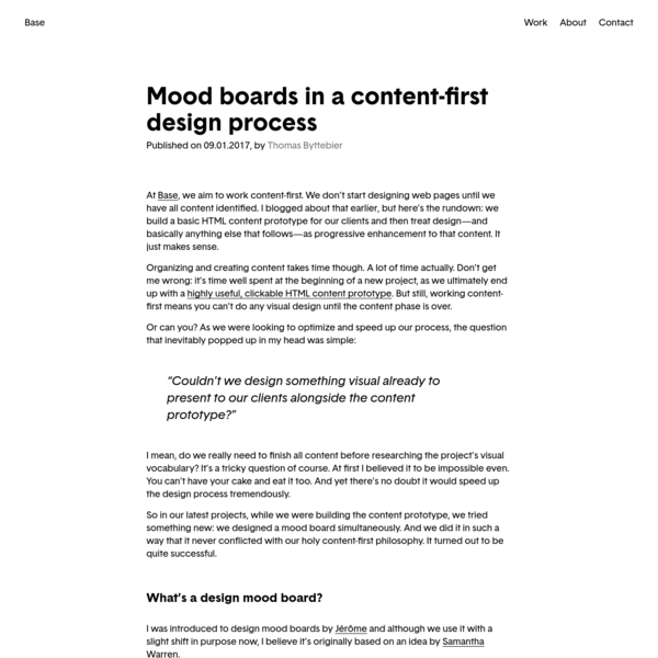 Mood boards in a content-first design process