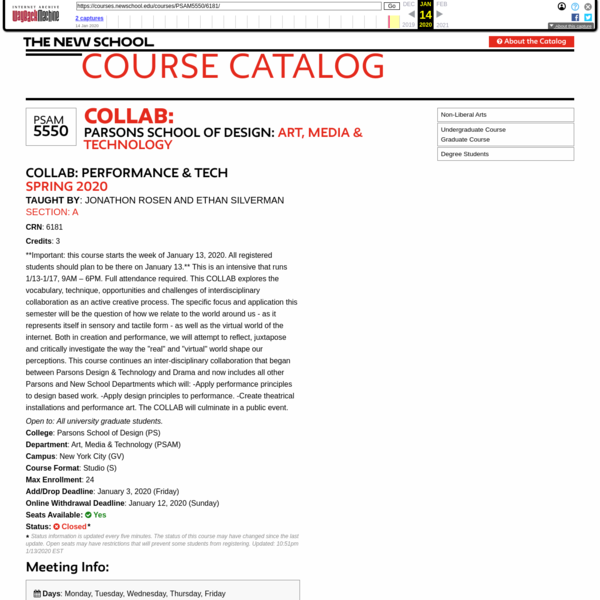 Collab:   PSAM5550   Course Catalog   The New School