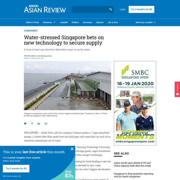 Water-stressed Singapore bets on new technology to secure supply
