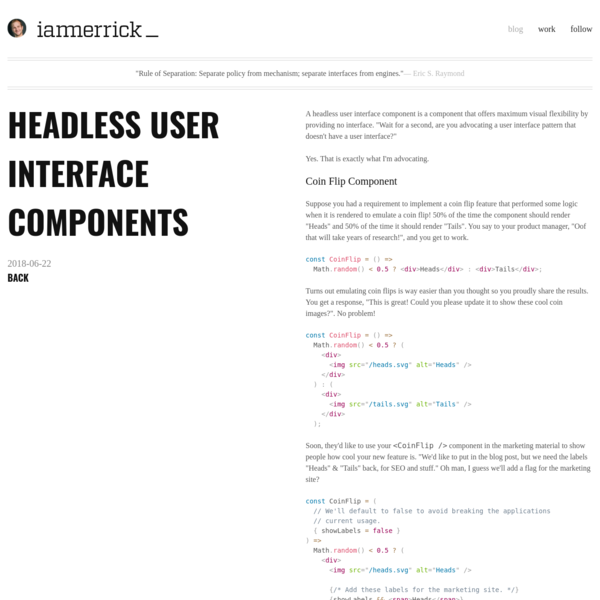 Headless User Interface Components