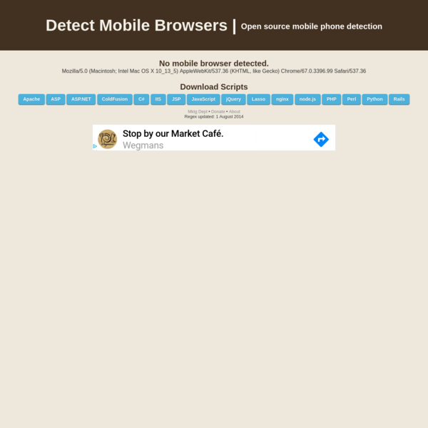Detect Mobile Browsers - Open source mobile phone detection