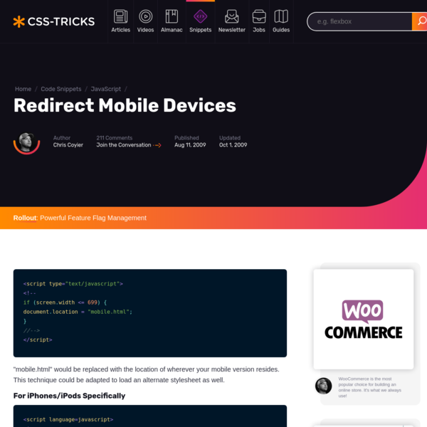 Redirect Mobile Devices | CSS-Tricks