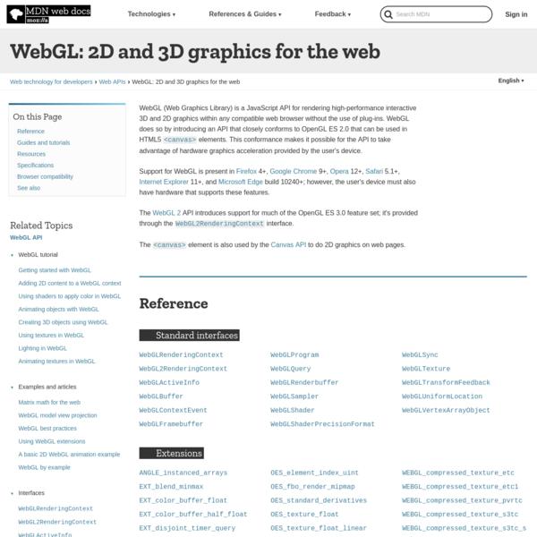 WebGL: 2D and 3D graphics for the web