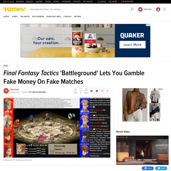 Final Fantasy Tactics 'Battleground' Lets You Gamble Fake Money On Fake Matches