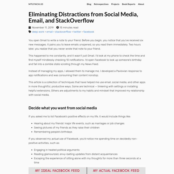 Eliminating Distractions from Social Media, Email, and StackOverflow