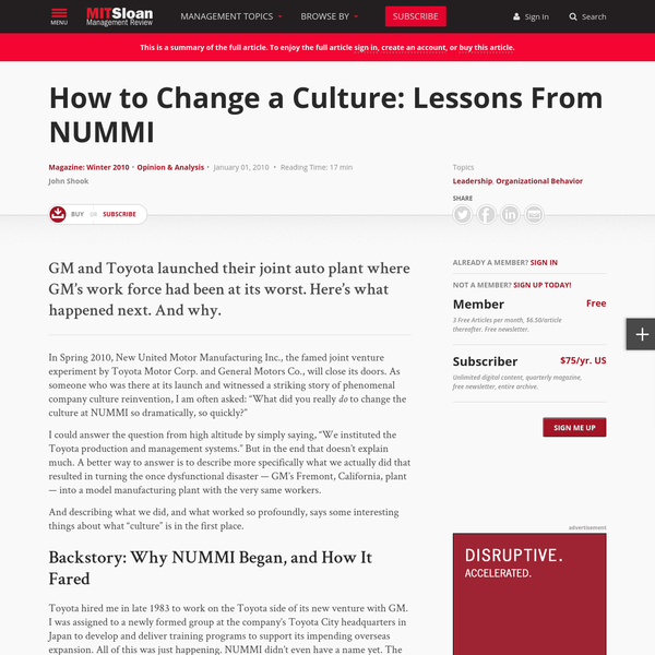 How to Change a Culture: Lessons From NUMMI