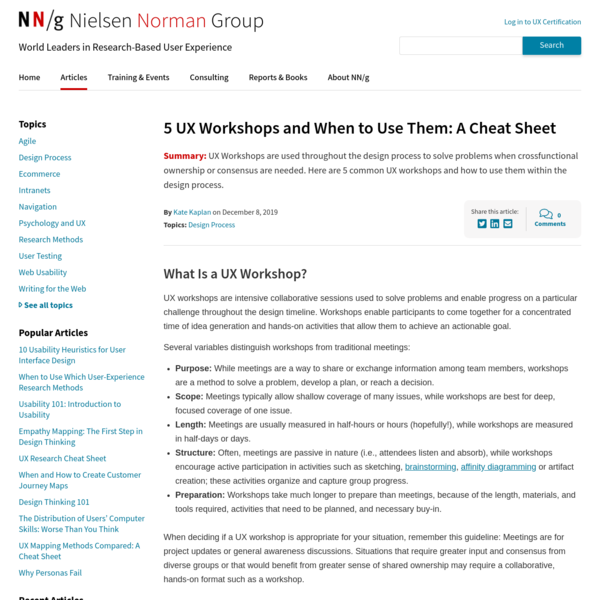 5 UX Workshops Cheat Sheet