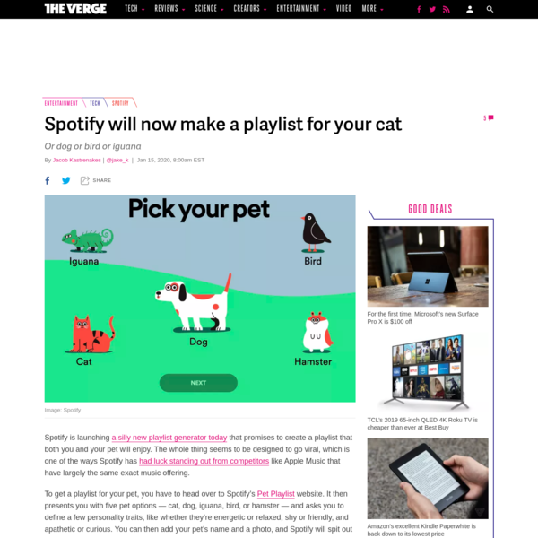 Spotify will now make a playlist for your cat