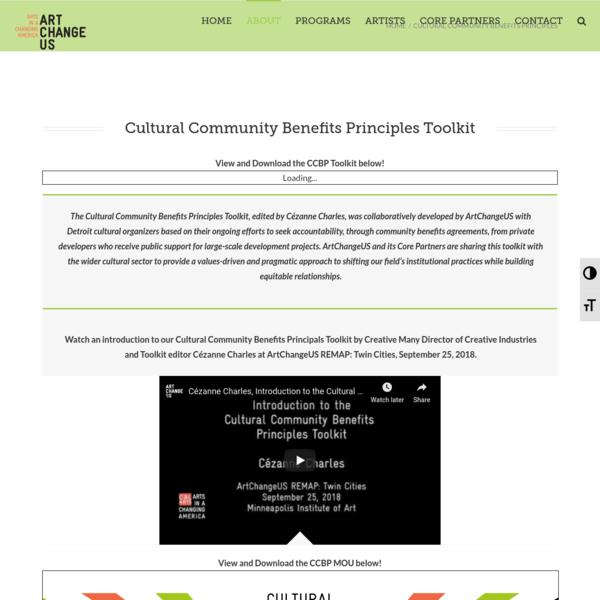 Cultural Community Benefits Principles