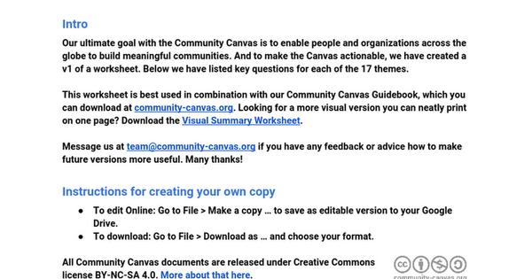 Community Canvas Worksheet Doc