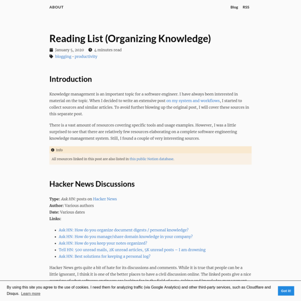 Reading List (Organizing Knowledge)