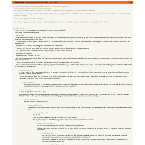 Ask HN: What mistakes did you make when starting as a consultant/freelancer?   Hacker News