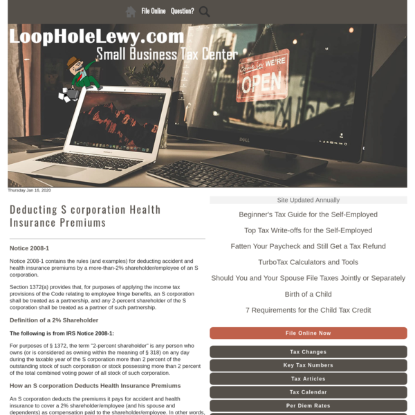 Deducting S corporation Health Insurance Premiums