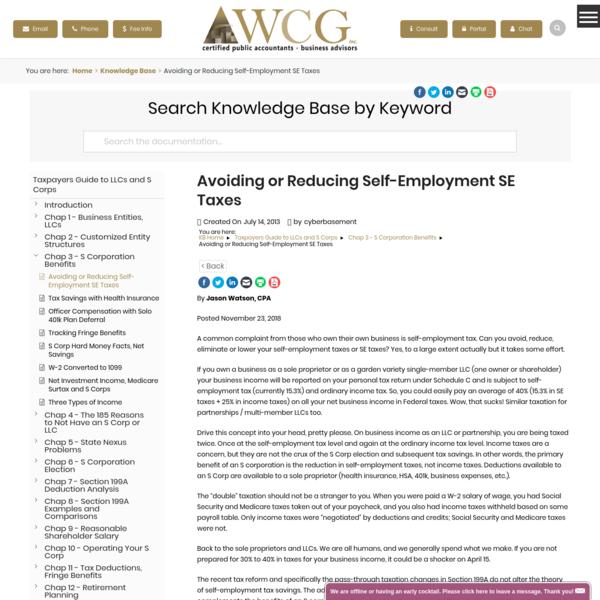 Avoiding or Reducing Self-Employment SE Taxes - WCG